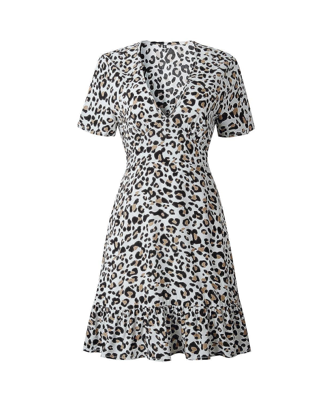 SWAGSTS a Maniche Corte con Stampa Animalier Linea A Leopardato Stile Vintage Scollo a V Vestito Estivo da Donna