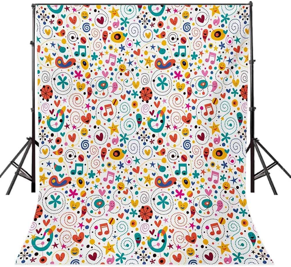 Kids 6.5x10 FT Photo Backdrops,Smiling Hearts Stars Dots Musical Notes Happy Characters Playful Cheerful Composition Background for Party Home Decor Outdoorsy Theme Vinyl Shoot Props Multicolor