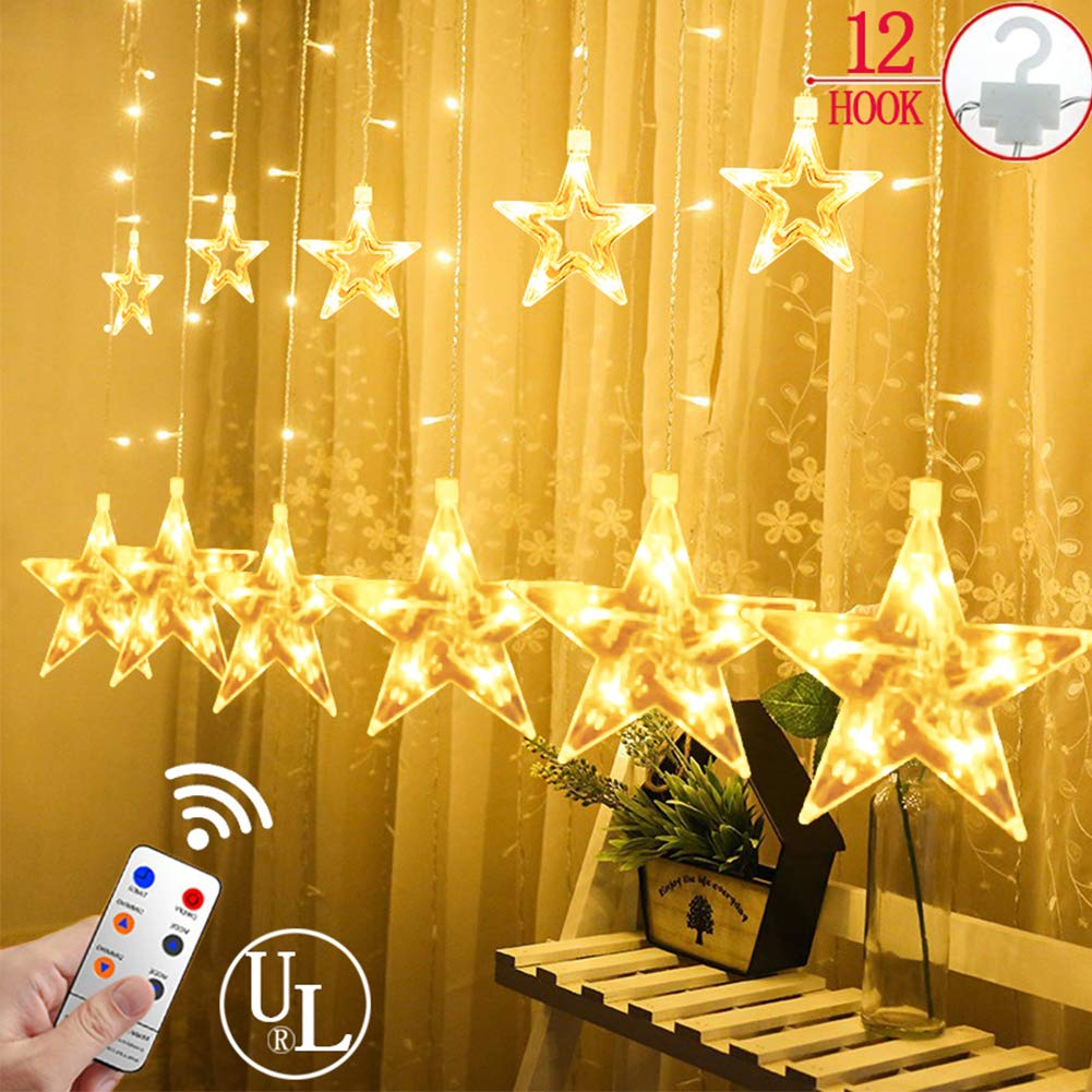 Star Fairy Lights, Connectable Curtain String Icicle Lights with 8 Modes, 12 Stars 108 LEDs Christmas Lights for Window Indoor Outdoor Wedding Party Christmas Decorations [Energy Class A+] Yinuo Mirror