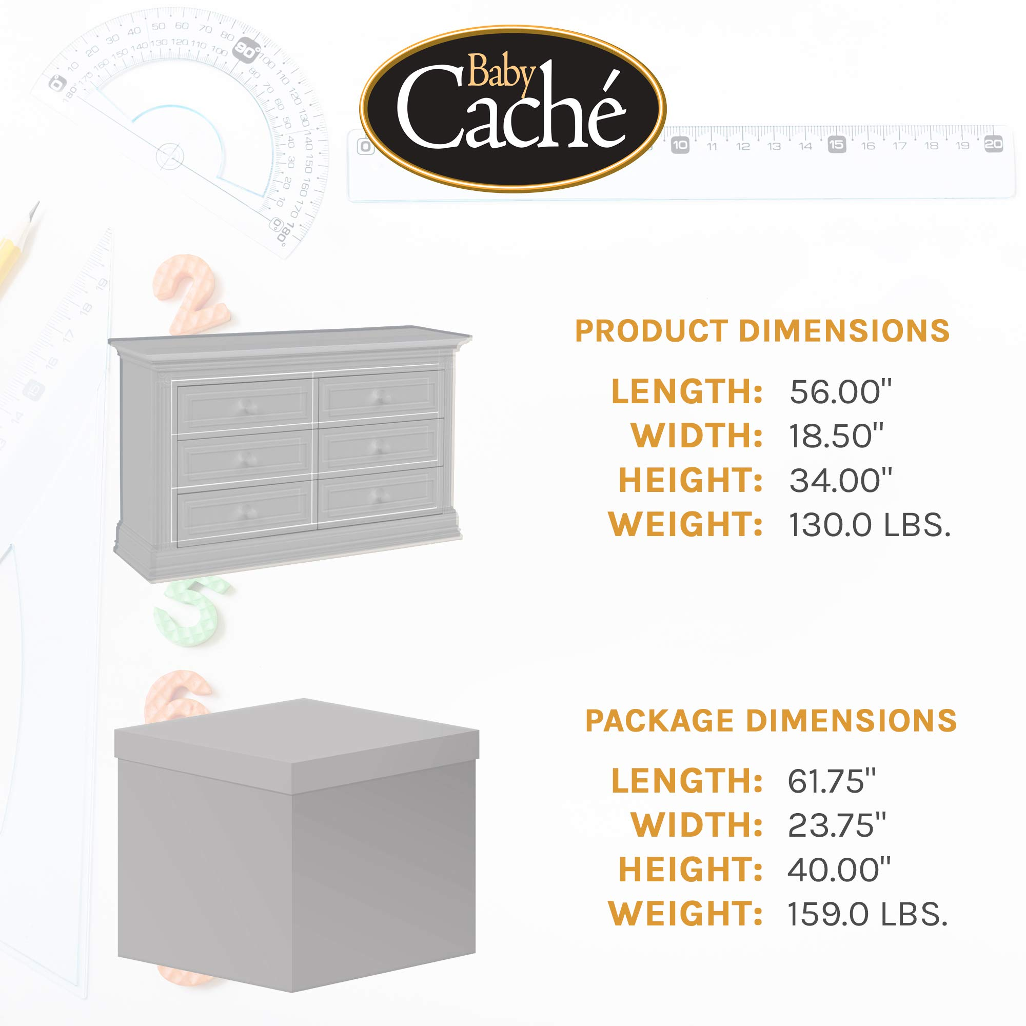 Baby Cache Montana Collection Natural Hardwood 6 Drawer Dresser | Lasting Quality & Design | Kiln-dried & Hand-Crafted Construction | 56'' x 18.5'' x 34'', Glazed White by Baby Cache (Image #6)