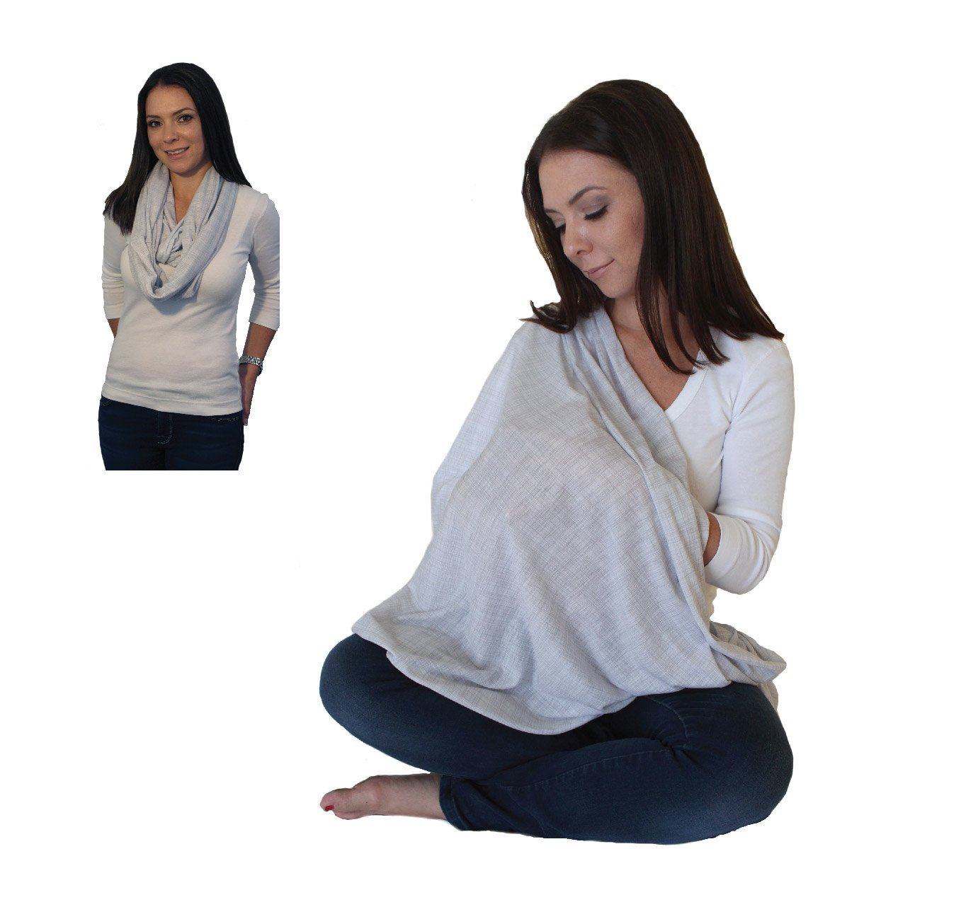 Exceptional Amazon.com : Infinity Nursing Scarf Breastfeeding Cover Ultra Soft Premium  Jersey Polyester  100% AZO Free And Safe For Baby (Light Grey Pattern) :  Baby Throughout Nursing Cover