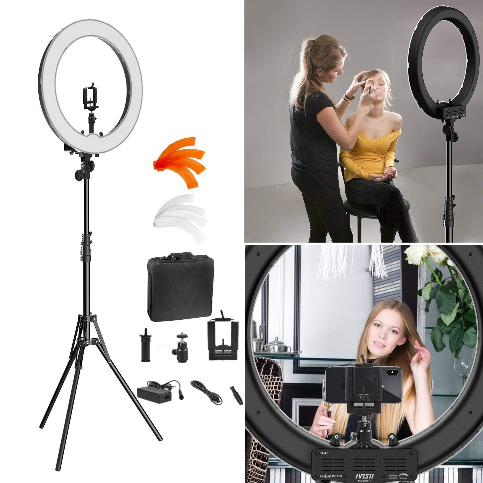 Ring Light Kit:18'' 48cm Outer 55W 5500K Dimmable LED Ring Light, Light Stand, Carrying Bag for Camera,Smartphone,YouTube,Self-Portrait Shooting by IVISII