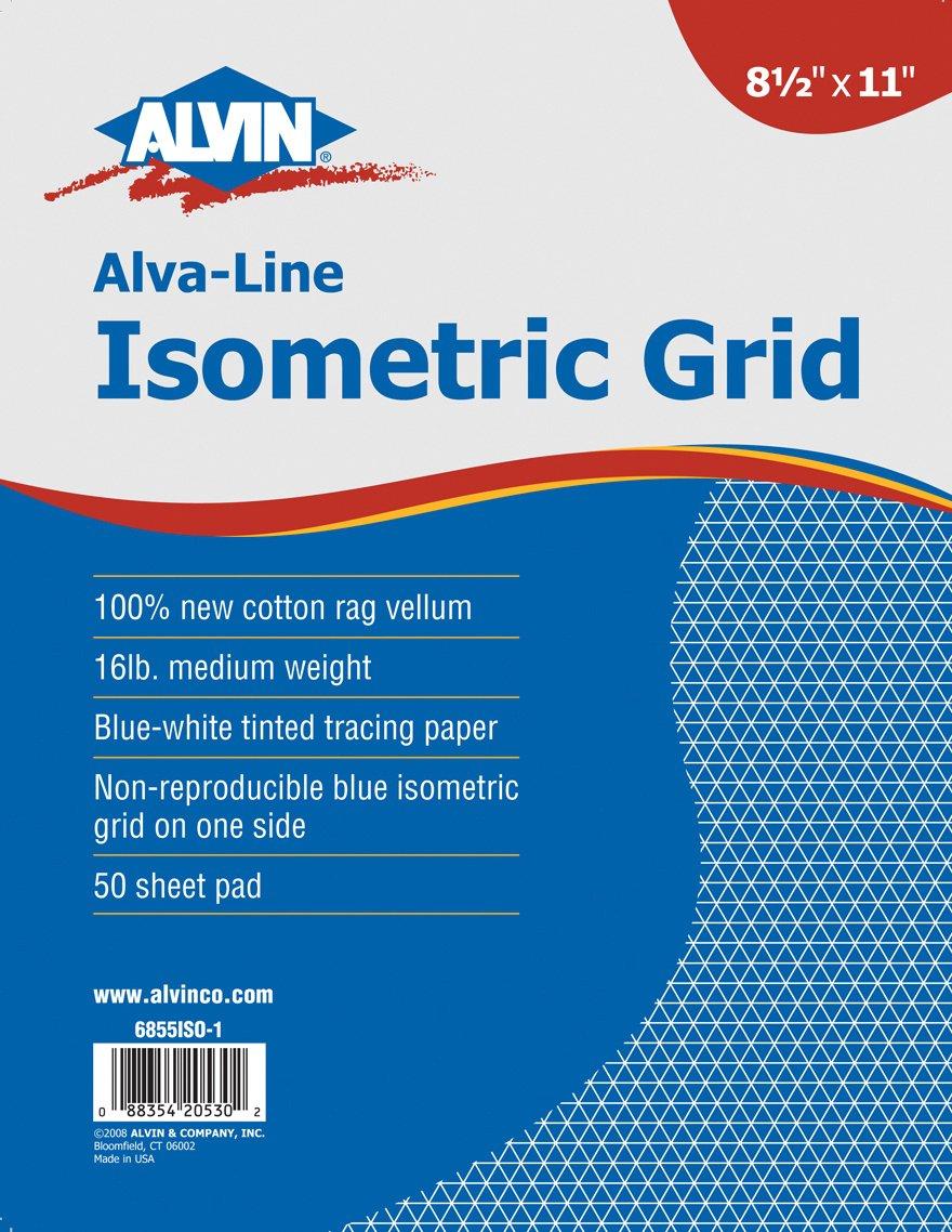 Alvin Isometric Grid Pad, 11'' x 17'' (6855ISO-7)
