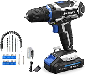 Bielmeier Cordless Drill Set, 20V MAX Lithium-Ion Power Drill Cordless, Electric Drill with Variable Speed, LED and 29pcs Drill Bits (BCDK-29)