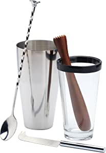 BarCraft 4-Piece Stainless Steel, Glass and Wood Mojito Cocktail Set