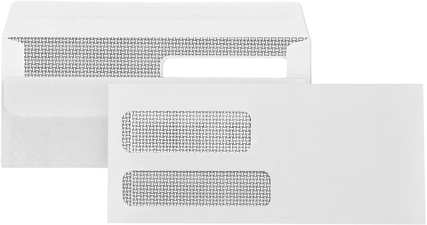 500 No. 9 Flip and Seal Double Window Security Envelopes - Designed for Quickbooks Invoices and Business Statements with Self Seal Flip Press and Seal Flap -Number 9 Size 3 7/8 Inch X 8 7/8 Inch