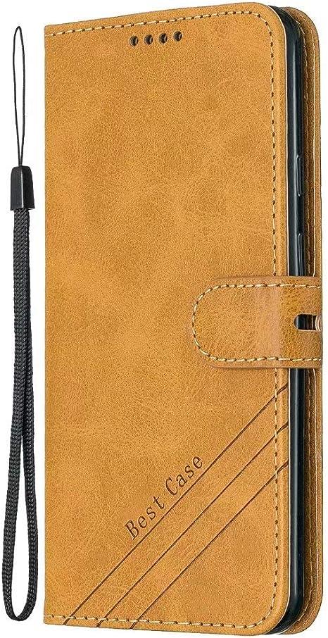 Funda para Huawei P40 Lite Funda Libro, Cartera Estuche Antigolpes Golpes de Cuero con Libro de Cuero Flip Case, Carcasa PU Leather con TPU Silicona Case Interna Suave Cierre Magnético amarillo: Amazon.es: