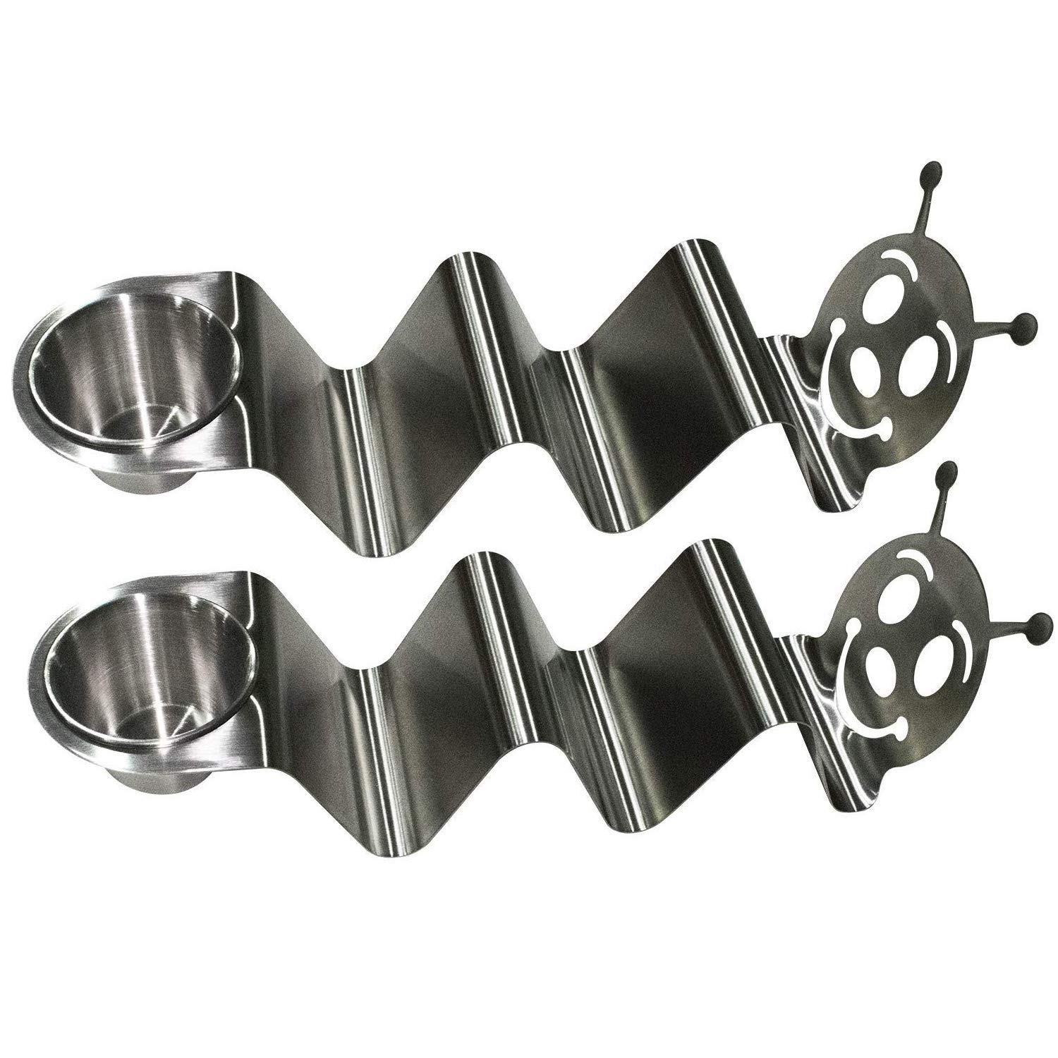 Taco Holder with Sauce Cup - Stainless Steel Metal Taco Stand - Cute Caterpillar Design Holds 3 Tacos, Hot Dogs (Set of 2)