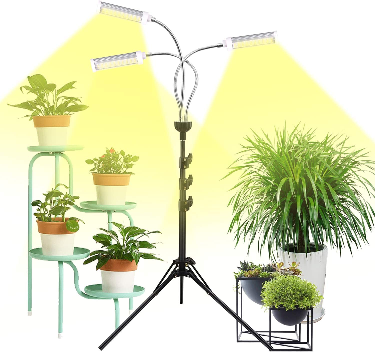 Plant Grow Lights for Indoor Plants Full Spectrum with Timer for Your Indoor Garden, 150W Auto On/Off Timing Function Led Grow Light, Tripod Stand Adjustable for Succulent Seedling Vegetables