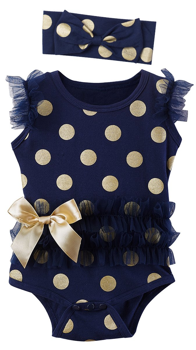 Mombebe Baby Girls' Lace Tutu Dress Bodysuit with Headband (0-3 Months, Dot Dark Blue)