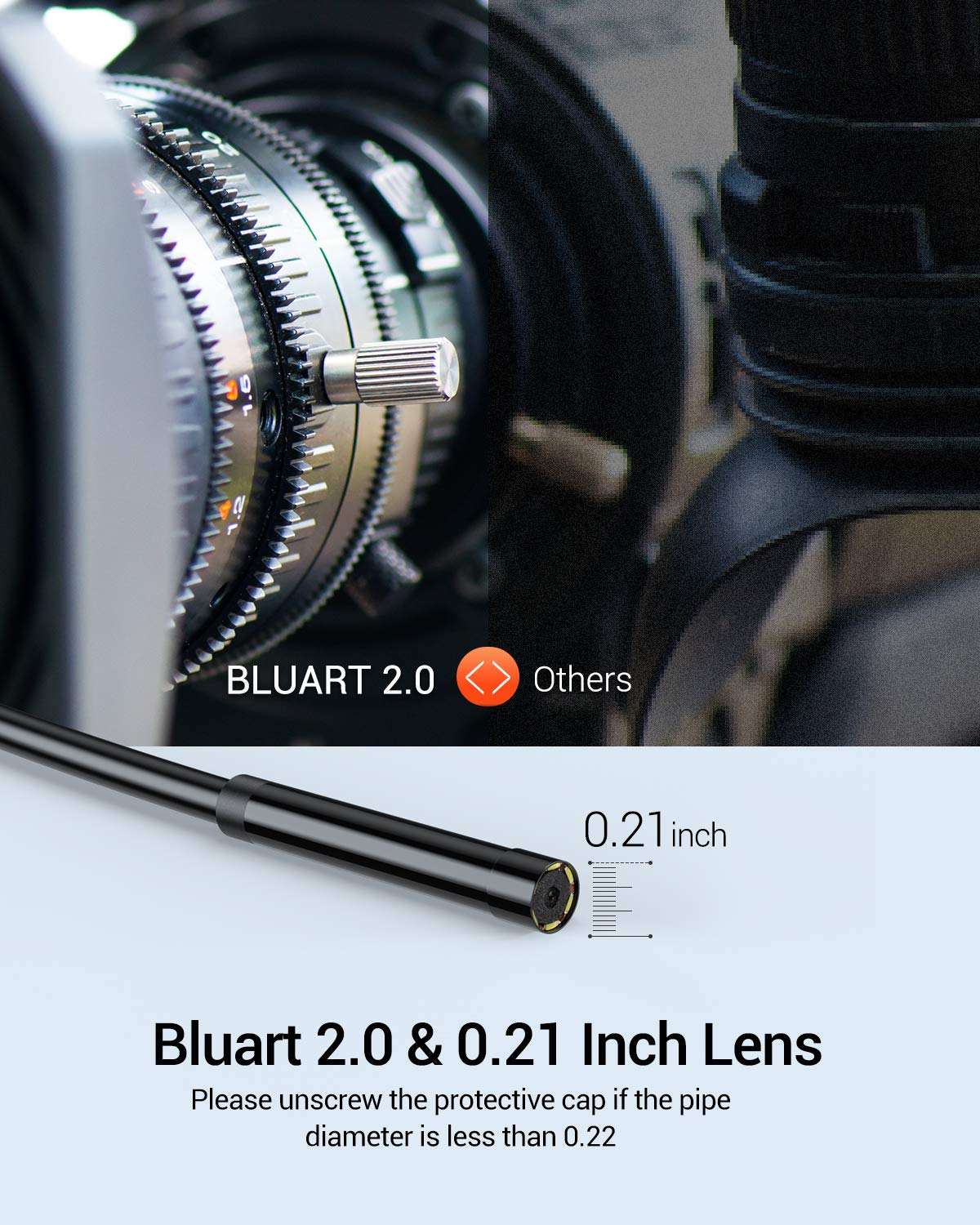 16.5FT DEPSTECH 5.5mm WiFi Borescope with 2200 mAh Battery Sewer Drain Pipeline Inspection Camera Android Tablet Wireless Endoscope Camera 1080P HD Semi-Rigid Snake Camera for iPhone