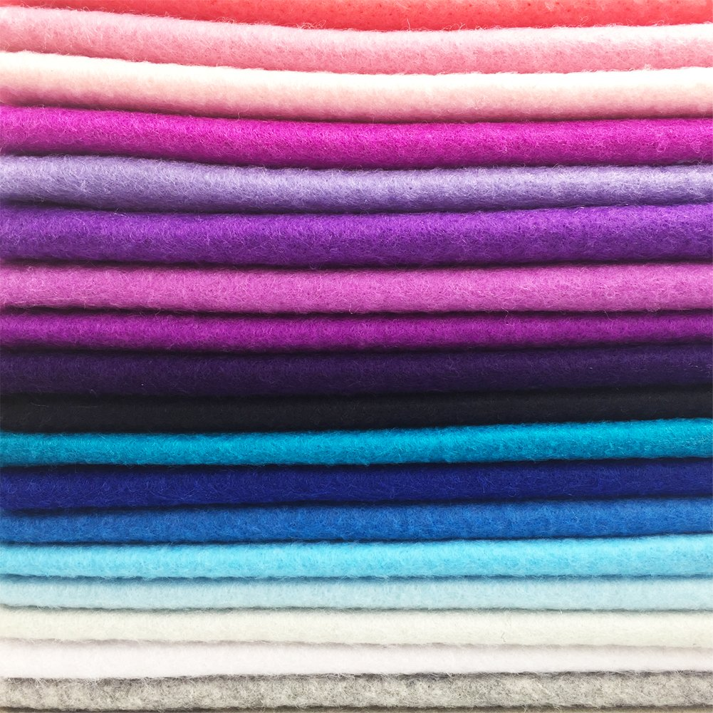 flic-flac 42pcs1.4mm Thick Soft Felt Fabric Sheet Assorted Color Felt Pack DIY Craft Sewing Squares Nonwoven Patchwork (30cm 30cm) by flic-flac (Image #7)