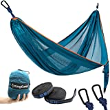 Camping Hammock Lightweight Portable Parachute Breathable Hammock (Ice Silk Mesh Fabric) with 2 Tree Straps for Backpacking Travel Beach Yard