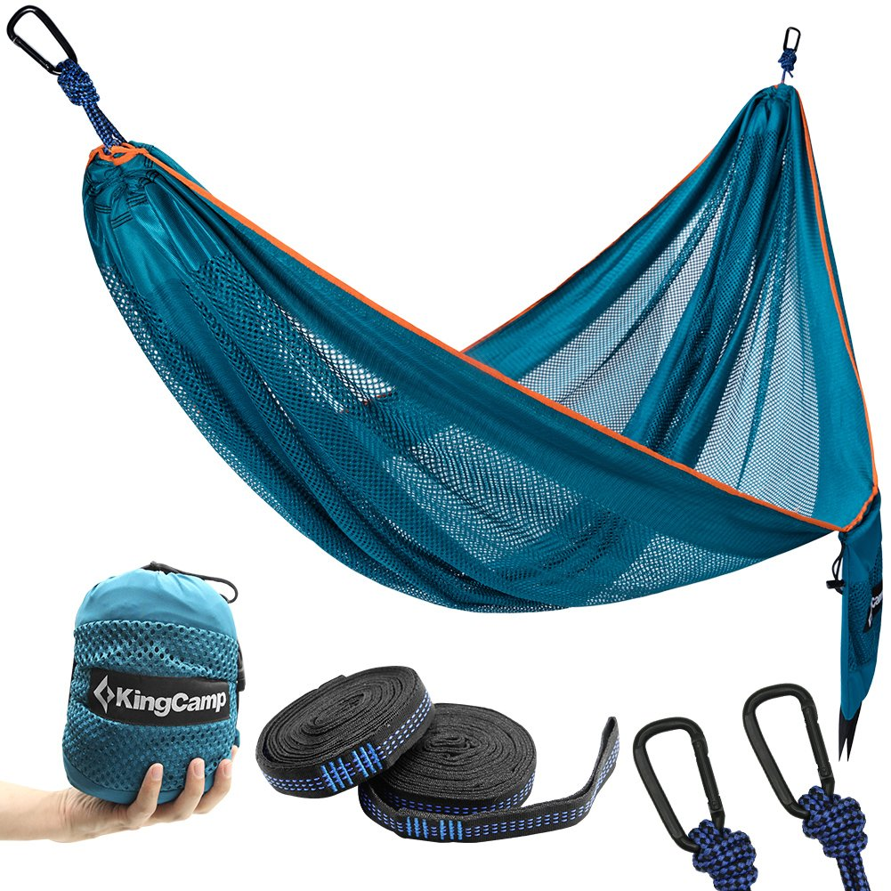 KingCamp Outdoor Camping Hammock, Breathable Lightweight Mesh Hammock with Tree Hanging Straps Rope for Backpacking, Camping, Travel, Beach, Yard by KingCamp