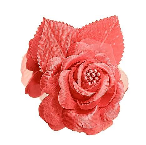Amazon.com: 12 rosas de seda flor de boda Coral: Home & Kitchen
