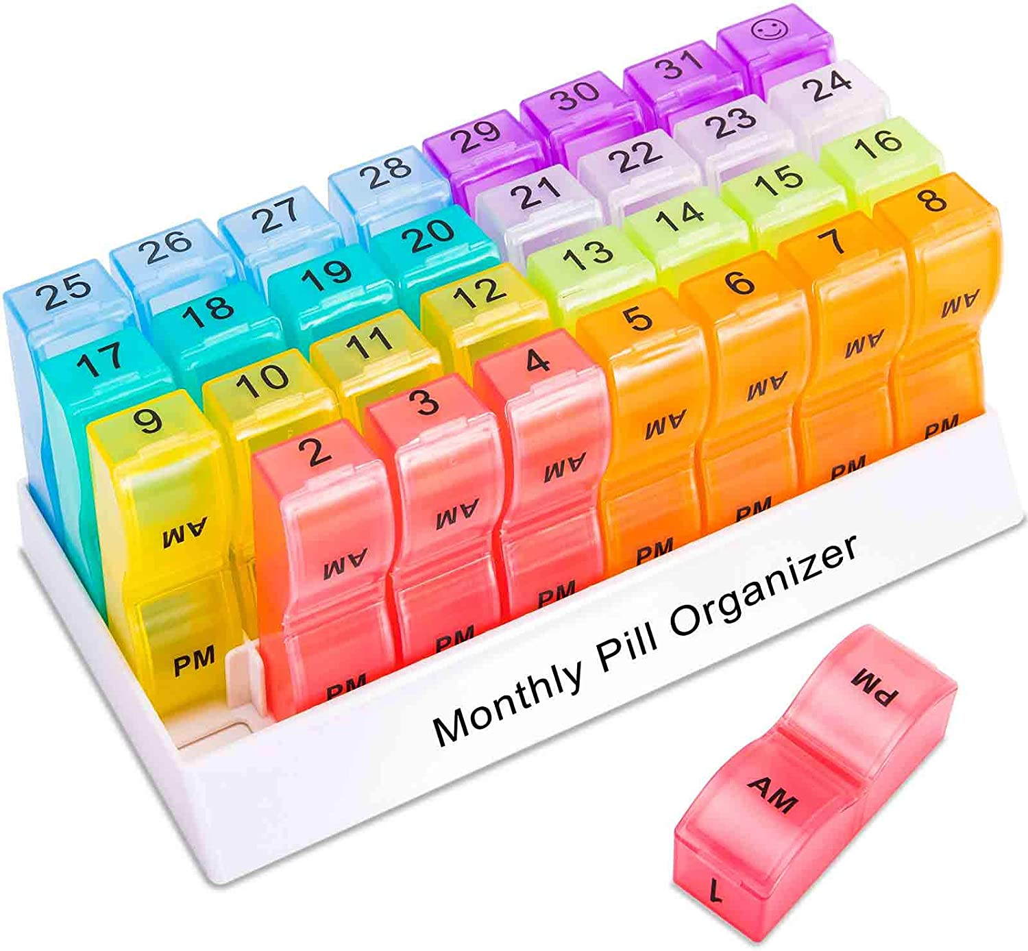 ASprink Monthly Pill Organizer 2 Times a Day, 31 Day Am Pm Pill Box Case, 1 Month 30-Day Medicine Dispenser, Easy-Open/Fill Daily Medications, Vitamins Once a Month (Small Compartment): Health & Personal Care