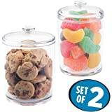 mDesign Kitchen Storage Jar for Treats, Cookies, Candy, Chocolate - Set of 2, Clear