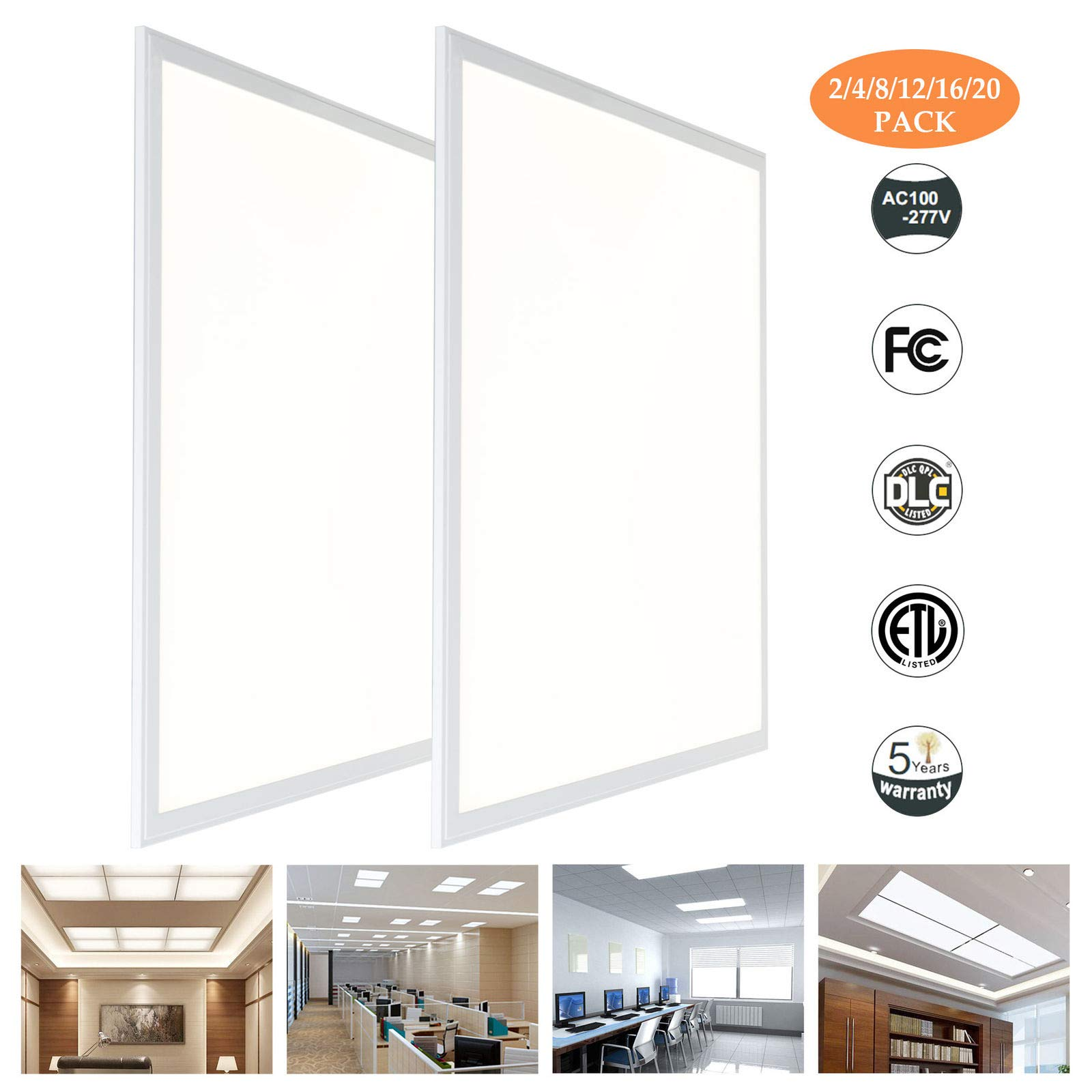 Culver LED 2 x 2ft. LED Panel Light Ceiling White Frame 48W Dimmable, 600600MM 4000 Kelvin (2 Pack)