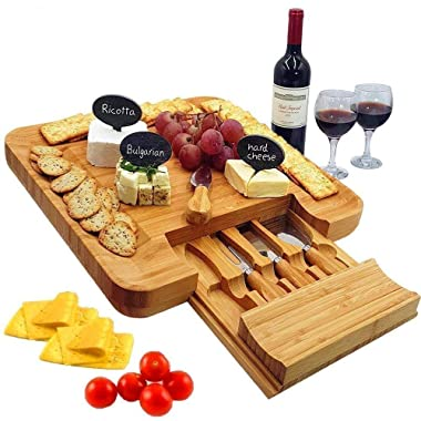 Bamboo Cheese Board & Cutlery Set with Slide-Out Drawer, 4 Pieces Stainless Steel Knife, Charcuterie Plate & Serving Tray. Includes 3 Label & Chalk, Unique gifts for Wedding, Engagement & Housewarming