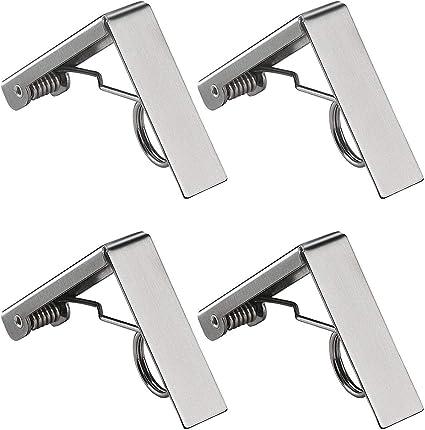 Luckyrao Clip per tovaglia Clip per tovaglia da Picnic in Acciaio Inossidabile da 4 Pezzi Copertura per tovaglia Clip a Molla Design Antivento Adatta a Tutti i Tipi di tavoli da Picnic