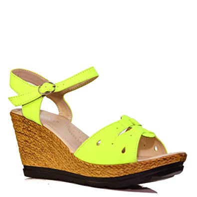 e6001bc3d7a Womens Ladies Casual Everyday Ankle Strap Mid Low Heel Wedges Sandals Shoes  Size Neon Yellow