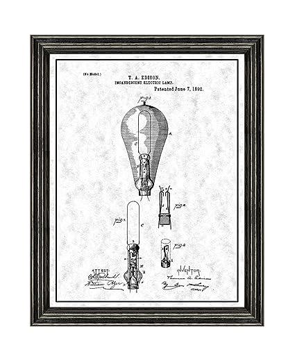 amazon com edison light bulb patent art gunmetal print with a