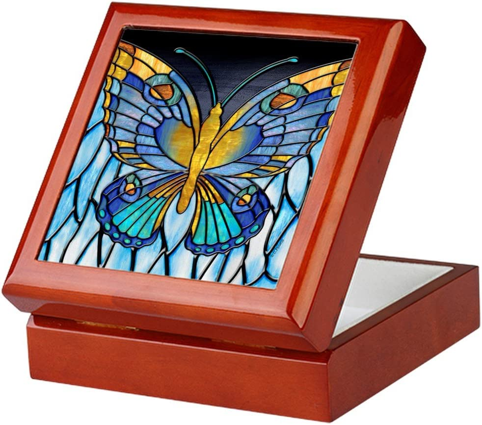 Velvet Lined Memento Box CafePress Butterfly Keepsake Box Finished Hardwood Jewelry Box