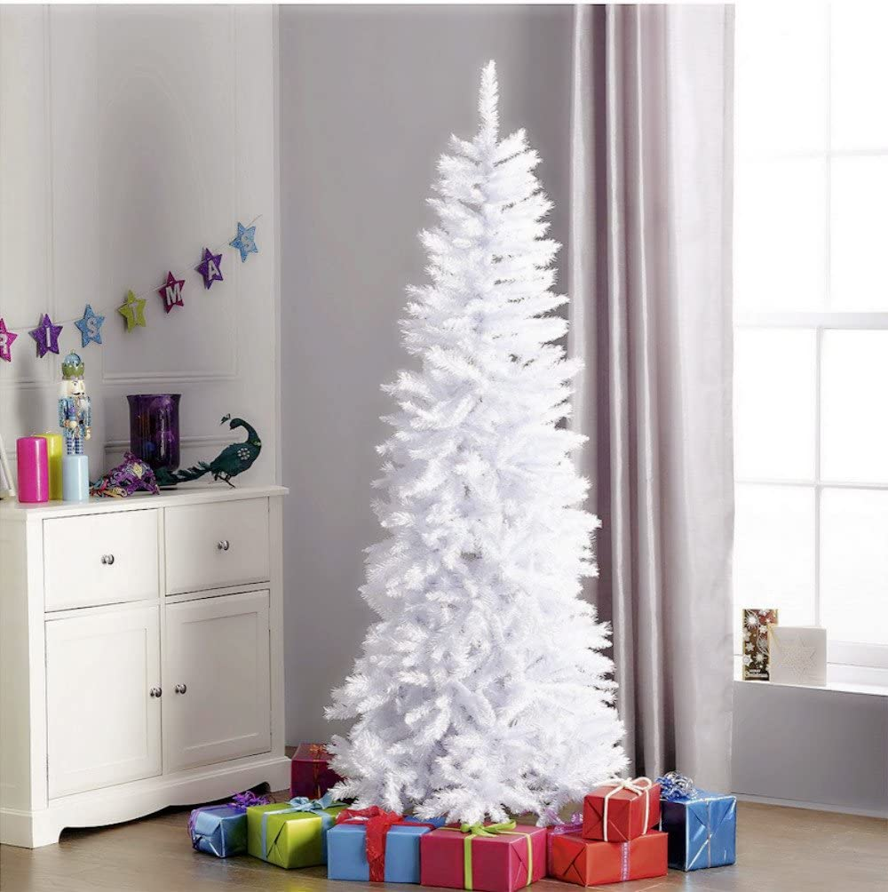 5ft Arctic White Pine Artificial Christmas Tree Hinged W Metal Stand Unlit Slim Tree Xmas Sparkle White Tree For Indoor Decoration 5ft Home Kitchen