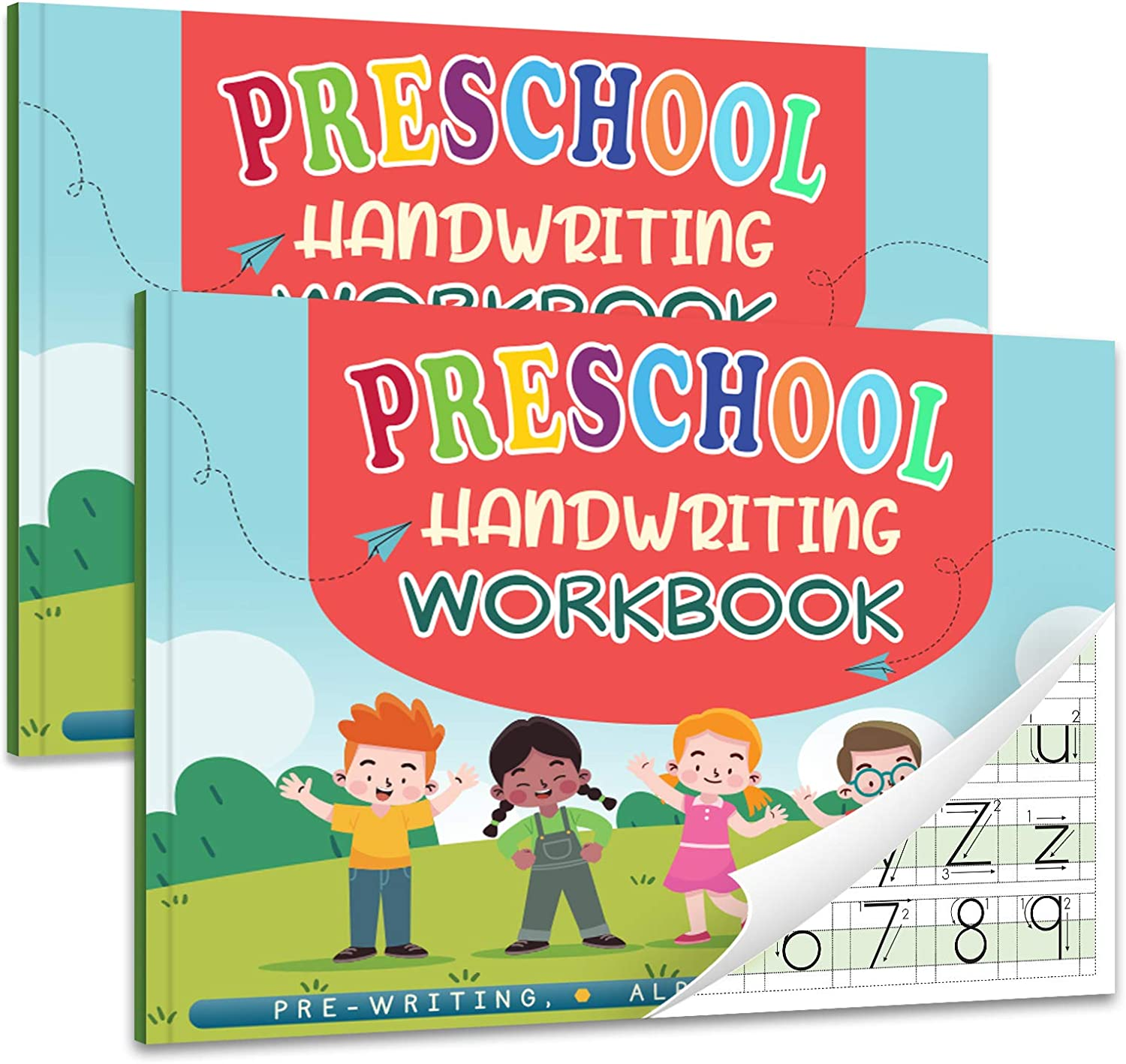 Kindergarten/Preschool Handwriting Workbook- Alphabet & Number Tracing Writing Paper with Lines, Learning Tools for Age 2/3/4/5 Year Old Kids/Boys/Girls, ABC Learning for Toddler, Homeschool Supplies