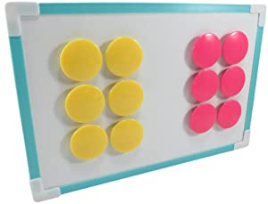 Round Dot Magnets Refrigerator Filing Cabinet Whiteboard 1.5 Inches Neon Pink and Yellow (Set of 12)