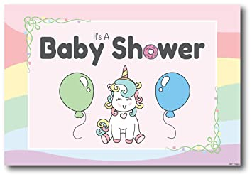 Amazon Com 50 Unicorn Baby Shower Invitations Girl Postcards