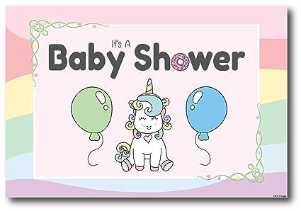 b0cad2baa 50 invitaciones de unicornio para baby shower (tarjetas de visita, sobres  no necesarios)