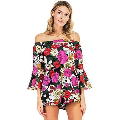 0e4322a1f59 Romacci Women Girls Summer Floral Print Shorts Jumpsuit Romper Off Shoulder  Beach 2 Pieces Set Playsuit