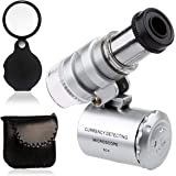 KINGMAS Mini 60x Microscope Magnifying with LED Light Pocket Jewelry Magnifier Jeweler Loupe with 10X Folding Pocket Magnifier