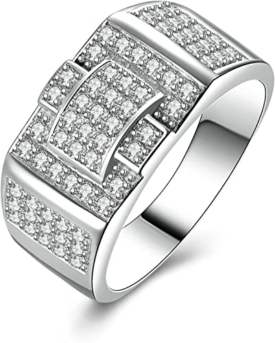 Aokarry 925 Sterling Silver Mens Silver Ring Engraved Iced Out Ring Round White Cubic Zirconia Size 5-12