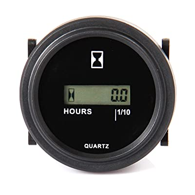 Jayron JR-HM005DC Snap in hour meter Round LCD Hour Meter Quartz hour meter DC4.5V-90V for fork Cart Boat Tractor Generator Engine Mower: Home Improvement