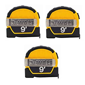 Dewalt DWHT33028M 9ft. Magnetic Pocket Tape Measure, Black and Yellow, 3 Pack