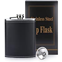 BFVV Hip Flask for Liquor and Funnel 8 Oz Stainless Steel Leakproof with Black Leather Cover Pocket Container for…
