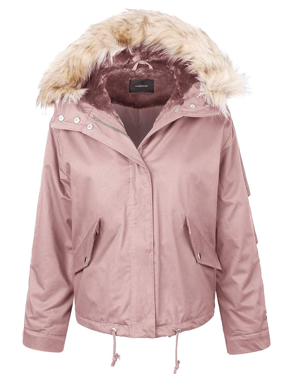 [Yjh0049]pink makeitmint Women's Detachable Faux Fur Hood Lining Utility Parka Anorak Jacket