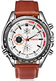 High Quality White Dial Brown Leather Band Japanese Quartz Movement Wrist Watch Graduation Gift