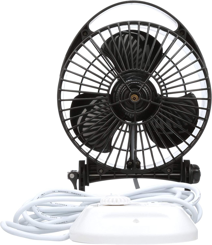 Caframo Maestro Black. Low Draw Ultra Quiet Mounted Fan with Light