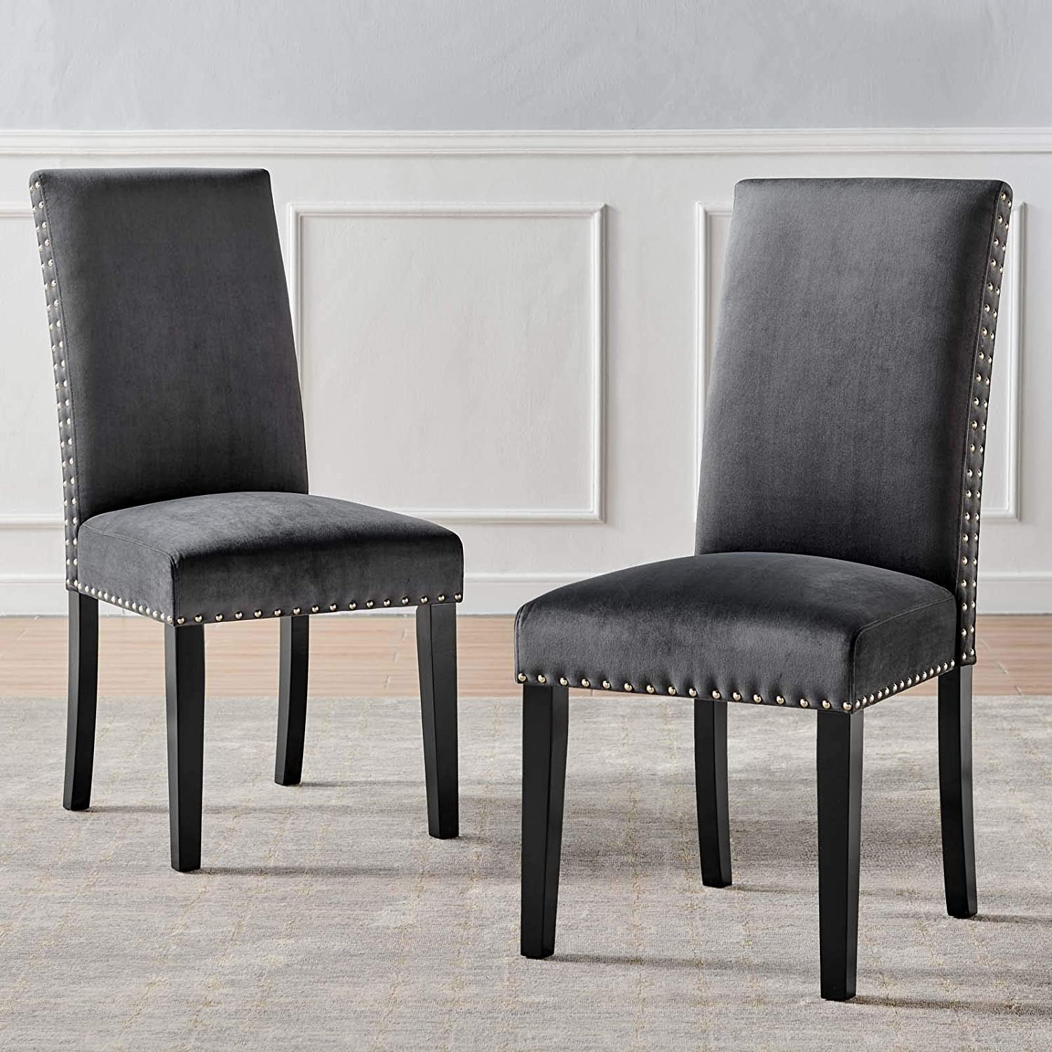 Modway EEI-3779-CHA Parcel Performance Velvet Dining Side Chairs - Set of 2, Charcoal