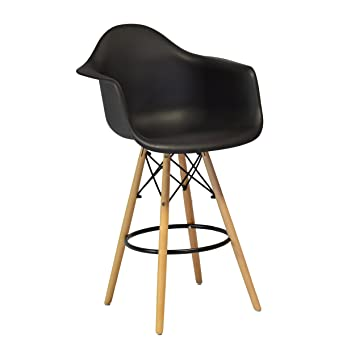 reputable site 83767 755e2 Design Tree Home Charles Eames Style DAW Counter Stool, Black ABS Plastic  (Black)