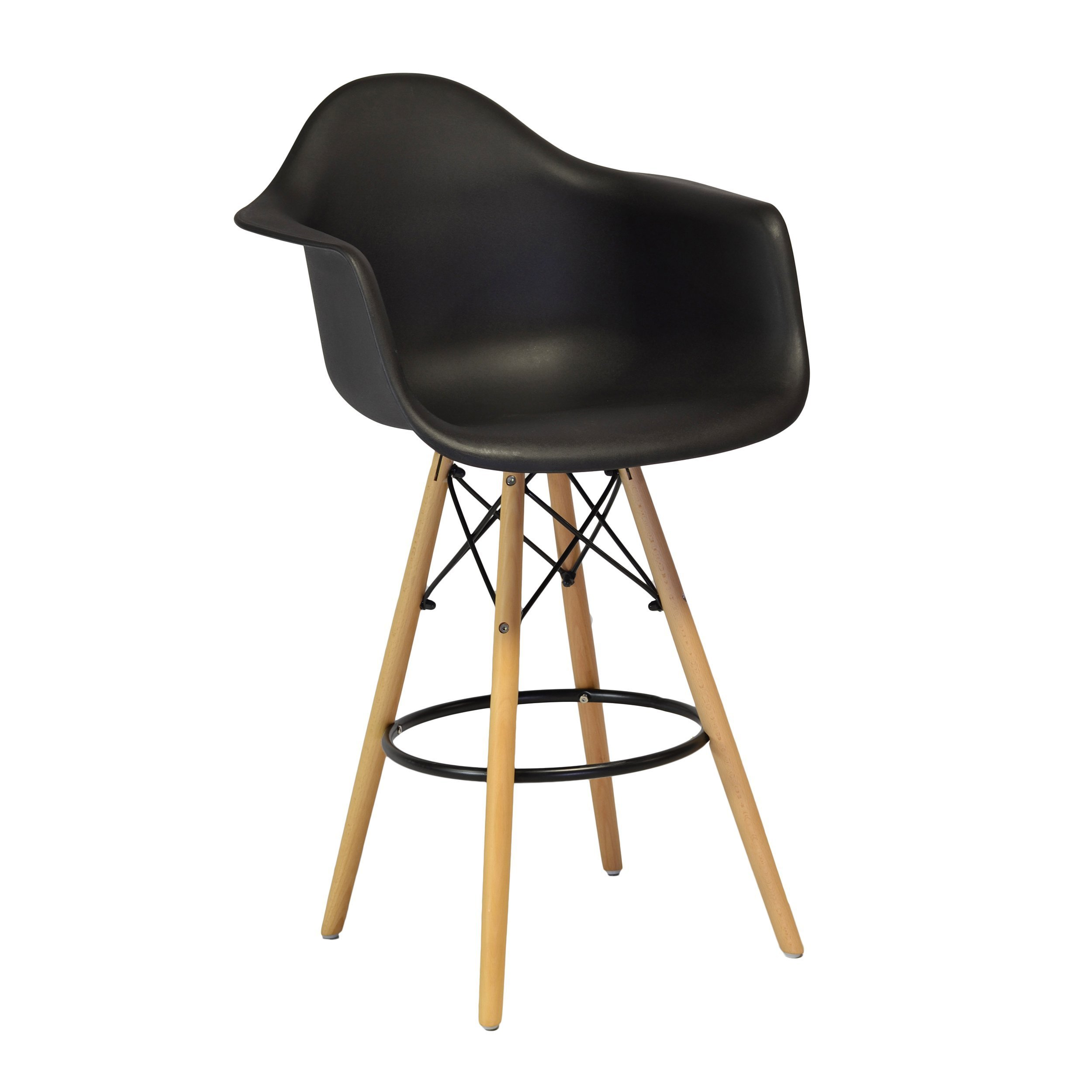 Design Tree Home Charles Eames Style DAW Counter Stool, Black ABS Plastic (Black)