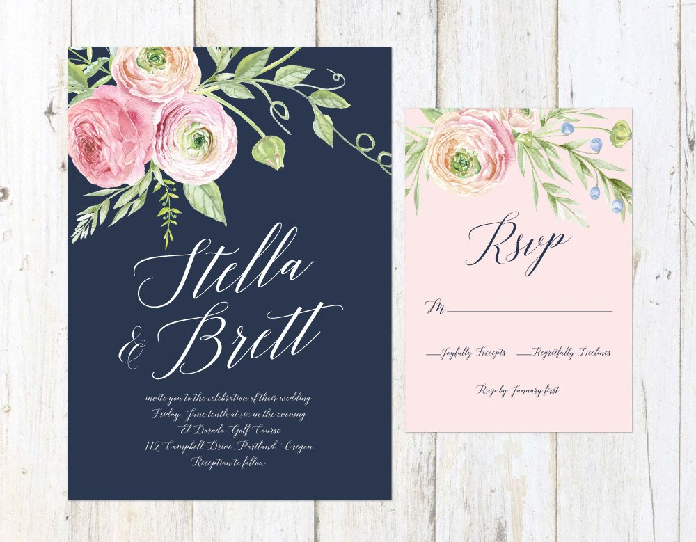 Navy Blush and Cream Wedding Invitation, Floral Wedding Invitation, Navy and Blush Invitation