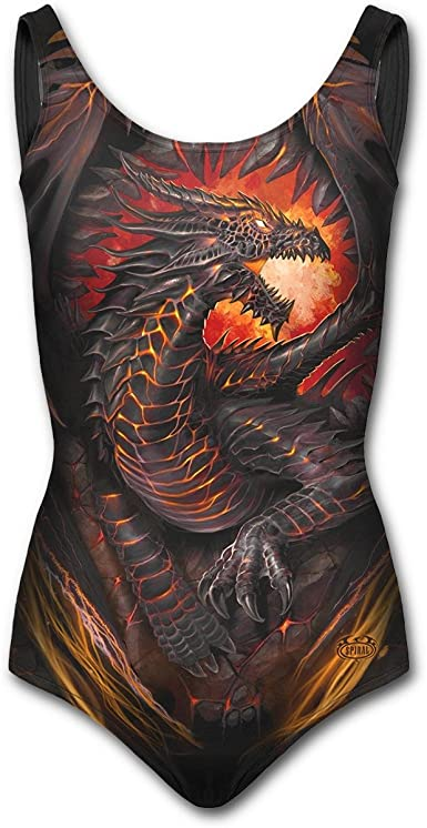 Spiral Womens Allover Scoop Back Padded Swimsuit Dragon Furnace