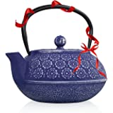 Lilac Blossom Cast Iron Teapot with Infuser   Non Toxic Floral Teapot from Resveralife  Japanese Kettle to Keep Tea Warm for Long  Cast Iron Tea Kettle with Stainless Steel Infuser Basket  32 oz