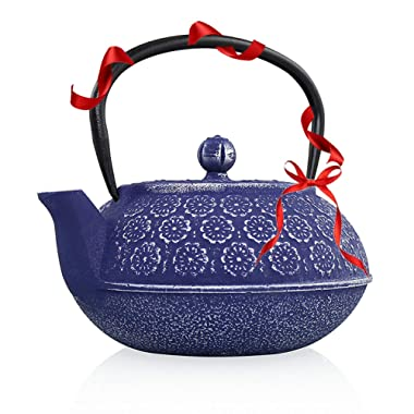 Resveralife Japanese Cast Iron Teapot With Infuser | Large Cast Iron Tea Kettle Maintains Temperature | Non Toxic Tea Kettle | Vintage Lilac Blossom Teapot | Collector's Item For Tea Aficionados