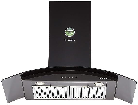 Faber 90 Cm 1095 M3/Hr Chimney (Hood Feel Plus 3D T2S2 Bk Tc Ltw 90, 2 Baffle Filters, Touch Control, Black)
