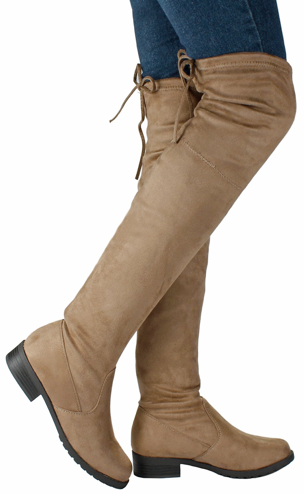 JJF Shoes Women Jalen Taupe Fashion Slouchy Round Toe Faux Suede Slanted Cuff Over The Knee Boots-8.5